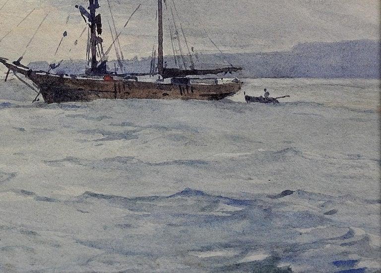 Norwegian Barques at Anchor, Devon. Victorian.Marine Art. Original Watercolor. For Sale 6
