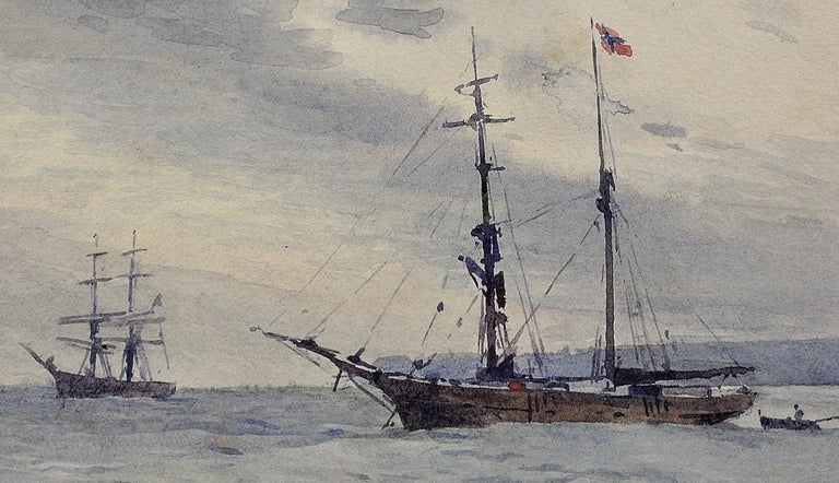 Norwegian Barques at Anchor, Devon. Victorian.Marine Art. Original Watercolor. For Sale 7