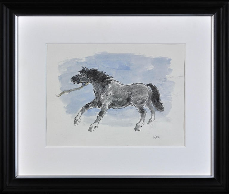 Welsh Pony Refusing to be Lead.Original Watercolor.Modern British.Horse.Kyffin. - Art by Sir Kyffin Williams