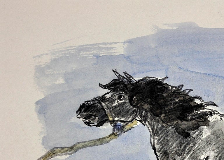 Welsh Pony Refusing to be Lead.Original Watercolor.Modern British.Horse.Kyffin. For Sale 3