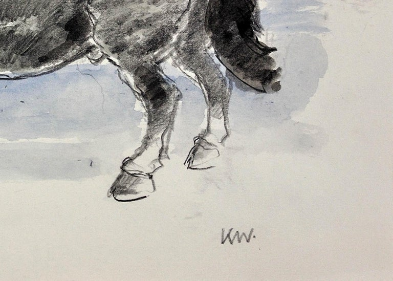 Welsh Pony Refusing to be Lead.Original Watercolor.Modern British.Horse.Kyffin. For Sale 6