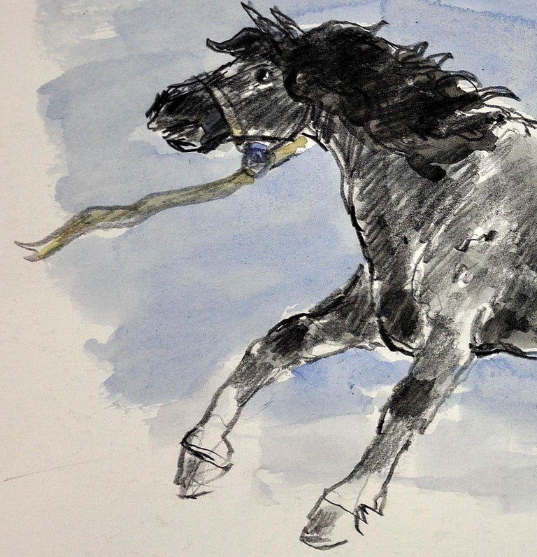 Welsh Pony Refusing to be Lead.Original Watercolor.Modern British.Horse.Kyffin. For Sale 7