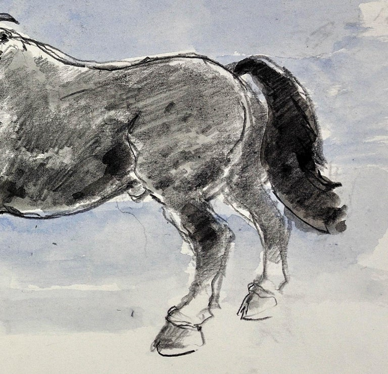 Welsh Pony Refusing to be Lead.Original Watercolor.Modern British.Horse.Kyffin. For Sale 8
