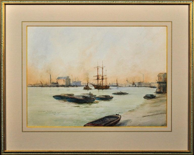 Limehouse Reach, River Thames.London.Original Watercolor William Birchall 1920 - Art by William Minshall Birchall