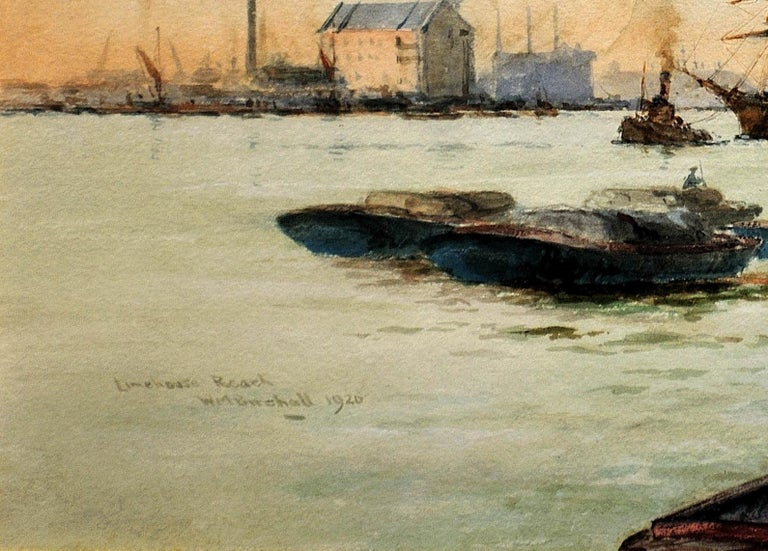 Limehouse Reach, River Thames.London.Original Watercolor William Birchall 1920 For Sale 3