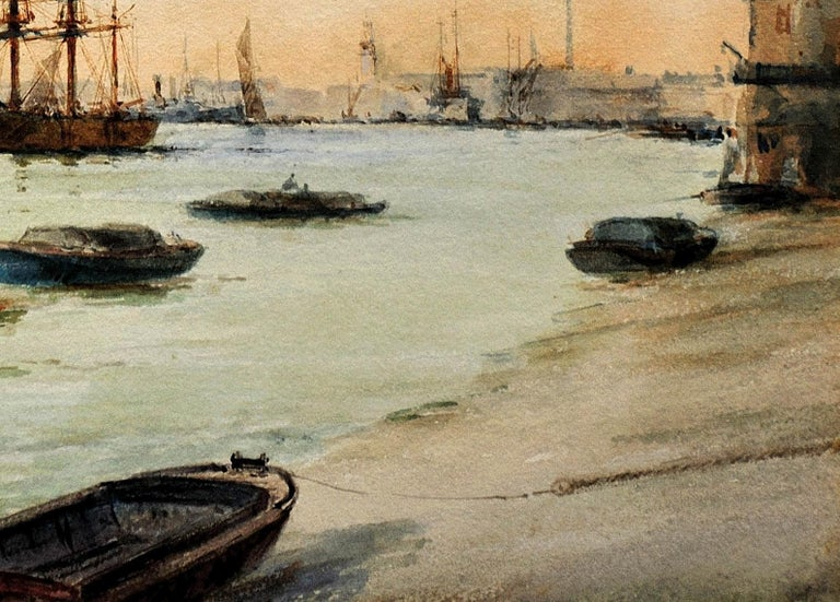 Limehouse Reach, River Thames.London.Original Watercolor William Birchall 1920 For Sale 4