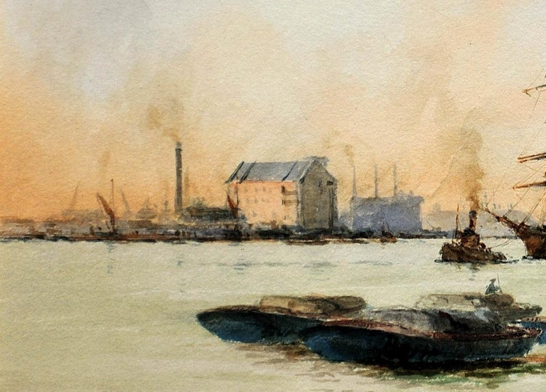 Limehouse Reach, River Thames.London.Original Watercolor William Birchall 1920 For Sale 5