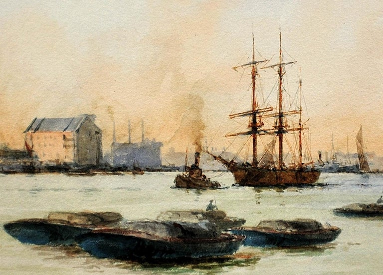 Limehouse Reach, River Thames.London.Original Watercolor William Birchall 1920 For Sale 6