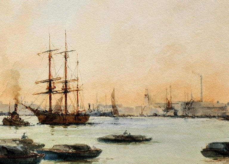 Limehouse Reach, River Thames.London.Original Watercolor William Birchall 1920 For Sale 7