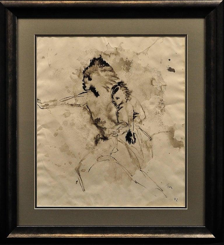 Tisa von der Schulenburg Figurative Art - Mother & Child Flee.Vietnam.Human Rights Female Artist.Madness of War.Original.