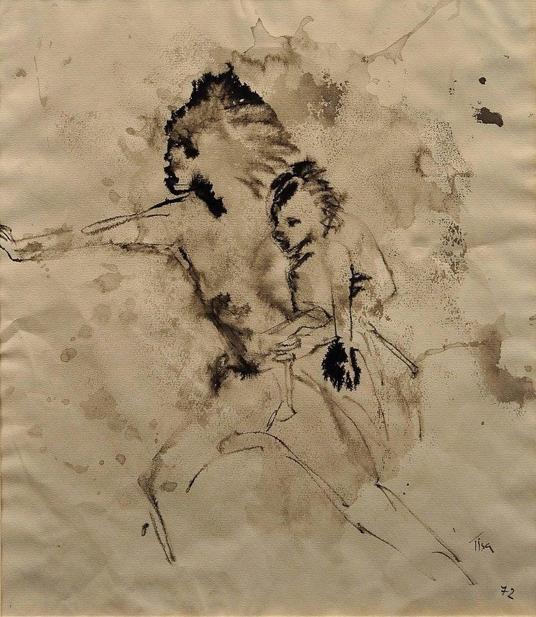 Mother & Child Flee.Vietnam.Human Rights Female Artist.Madness of War.Original. - Black Figurative Art by Tisa von der Schulenburg