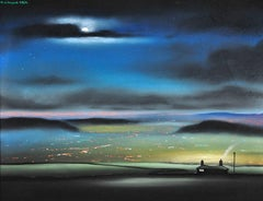 Night Time from Saddleworth Moor, Oldham and Manchester beyond. Original Pastel