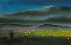 Oldham Parish Church & Beyond. Lancashire. Original Pastel Landscape. Hills. Sky