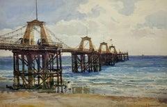The Royal Suspension Chain Pier, Brighton. 19th C Landscape. Original Watercolor