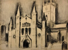 St. Davids Cathedral, Wales. Original Charcoal.Will Roberts.Welsh.Modern British