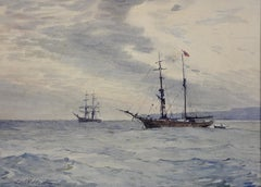Norwegian Barques at Anchor, Devon. Victorian.Marine Art. Original Watercolor.
