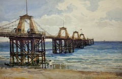 The Royal Suspension Chain Pier, Brighton. 19th C Landscape. Original Watercolor