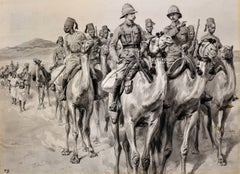 British Army Camel Corps, Sudan, North Africa. Original En Grisaille Watercolor.