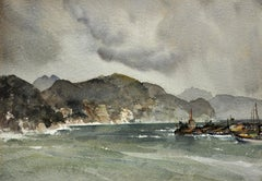 Storm on the Liguarian coast, 1954, Santa Margherita, Italy. Original Watercolor