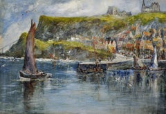 Tate Hill Pier, Whitby Abbey. 1930. Bram Stoker's Dracula. Original Watercolor.