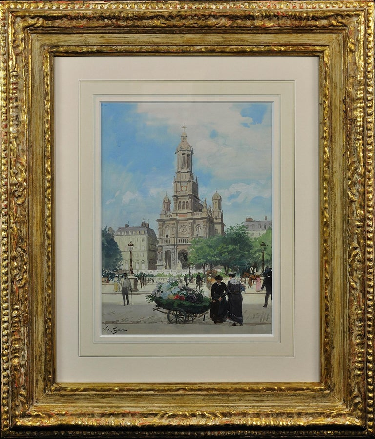 L' Église de la Sainte-Trinité, Place de la Trinité, Paris. Original Watercolor. - Art by Victor Gabriel Gilbert