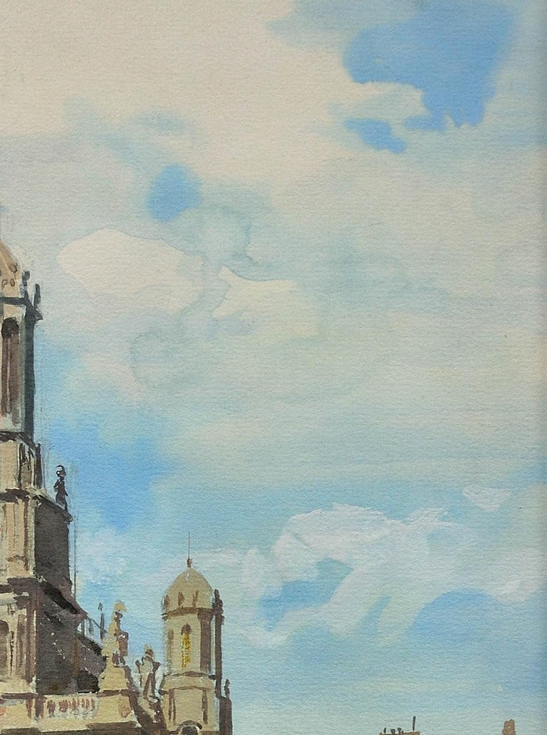 L' Église de la Sainte-Trinité, Place de la Trinité, Paris. Original Watercolor. For Sale 2