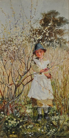 Young Girl Picking Spring Blossom. Victorian West Country Original Watercolor.