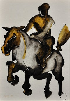 Horse & Rider. Geoffrey Key Original Watercolor. 1988.Modern British.Equestrian.