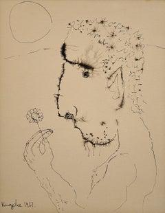 John.Modern British Portrait.Mid-20th Century.Original Ink Drawing. Flower Power