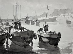 Low Tide, Mevagissey, Cornwall.Original En Grisaille Watercolour Painting.Marine