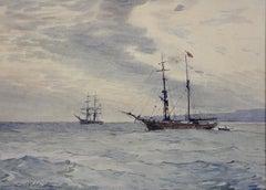 Norwegian Barques at Anchor, Devon. Victorian.Marine Art. Original Watercolor.
