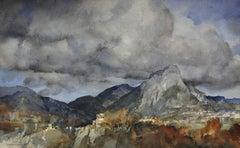 November in Provence (near Vence), 1962. Original Watercolor. Landscape. France