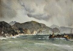 Storm on the Liguarian coast, 1954, Santa Margherita, Italy. Original Watercolor