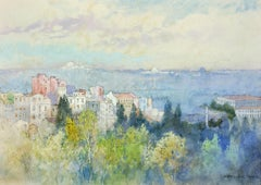 Constantinople 1906, Golden Horn.Bosphoros.Istanbul.Original Watercolor. Goble.