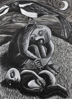 The Thief. Original Drawing.Welsh Artist. Magpie.Late 20th Century.Black & White