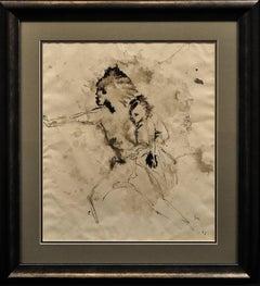 Mother & Child Flee.Vietnam.Human Rights Female Artist.Madness of War.Original.