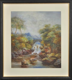Stone Bridge & Waterfall in an Upland Landscape. Victorian. Watercolor. River.