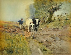 Bullocks Ploughing. Arable Farming. Field. Plough. Original Victorian Watercolor