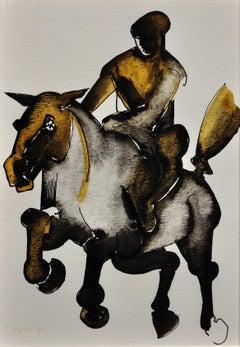 Horse & Rider. Geoffrey Key Original Watercolor. 1988.Modern British.Equestrian.