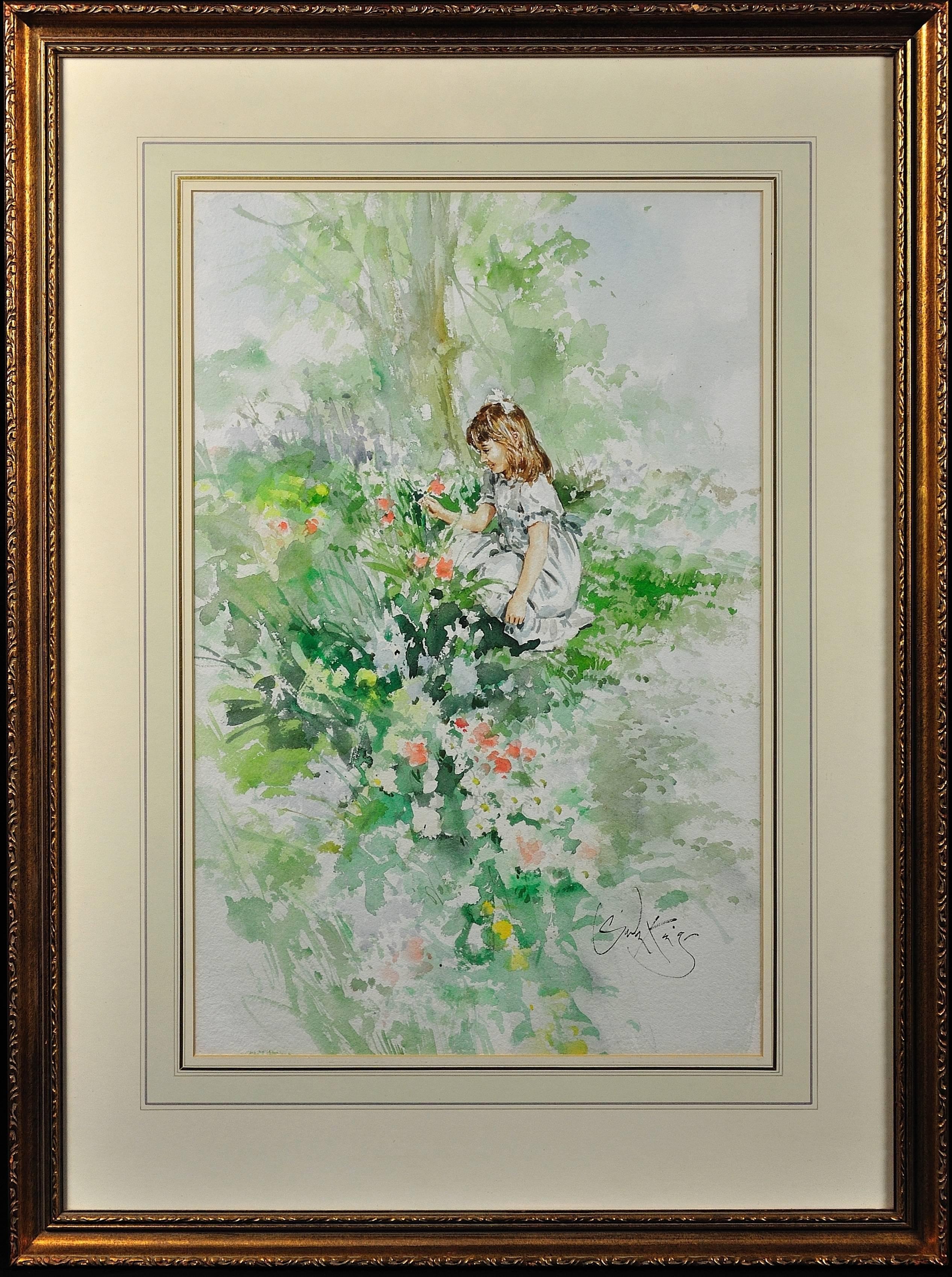 Poppy. Original Gordon King Watercolor. Modern British. Girl Picking Flowers.