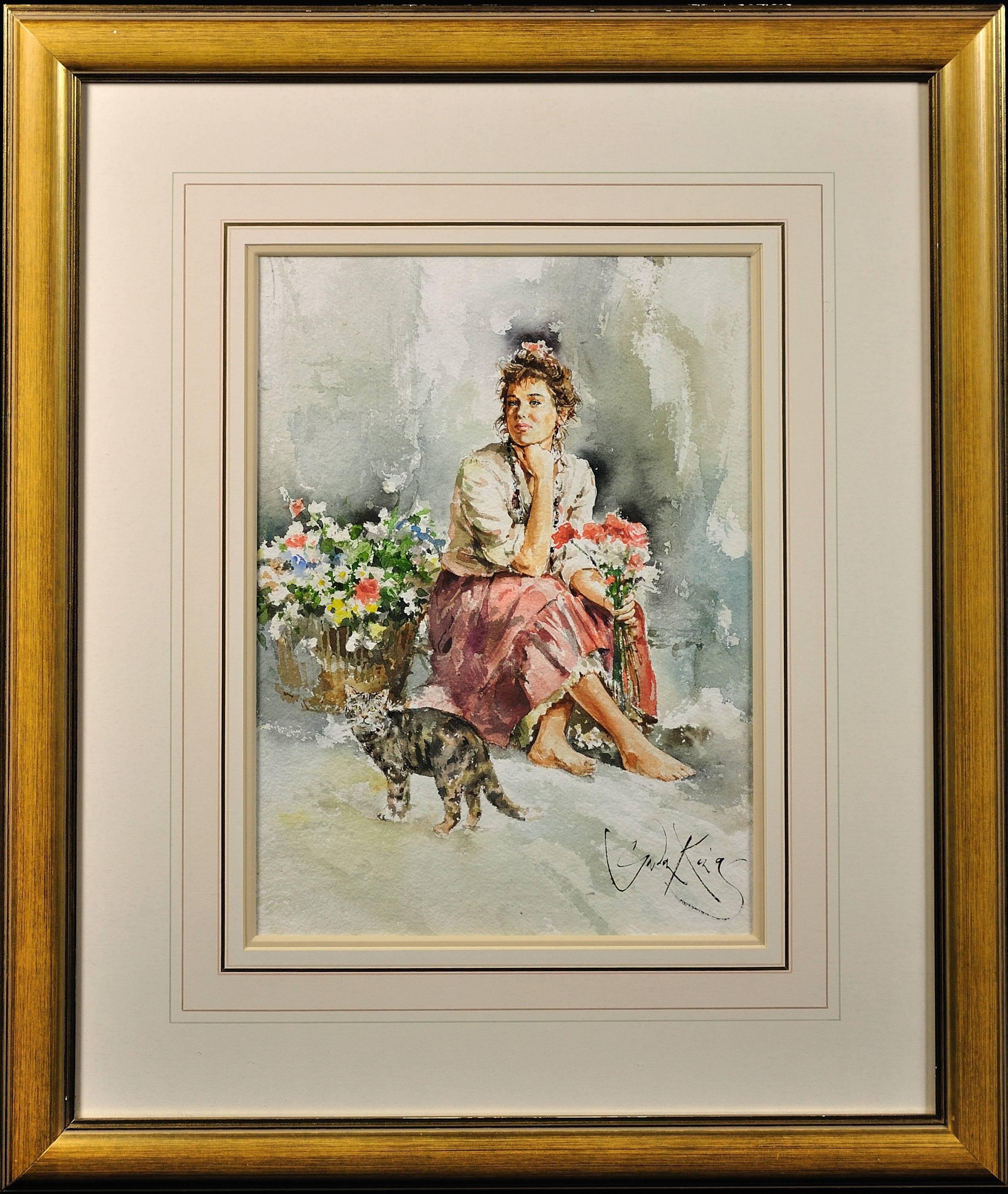 Airs. Original Gordon King Watercolor. Modern British. Beautiful Woman Lady.