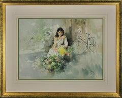 Christina. Original Gordon King Watercolor. Lady Flower Seller. Bicycle. Beauty.