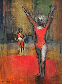 Rhythmic Gymnast. Modern British Pastel.Competition.Judge.Coach.Reds. Composure.