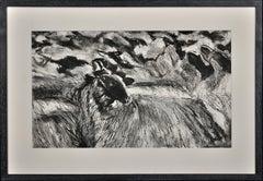 Flock of Sheep. Large Pastel.Modern British.West Wales.Welsh. Animal & Farming.