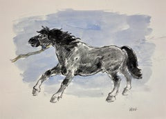 Welsh Pony Refusing to be Lead.Original Watercolor.Modern British.Horse.Kyffin.
