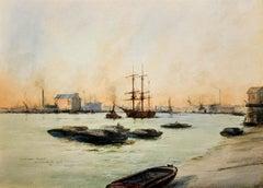 Limehouse Reach, River Thames.London.Original Watercolor William Birchall 1920