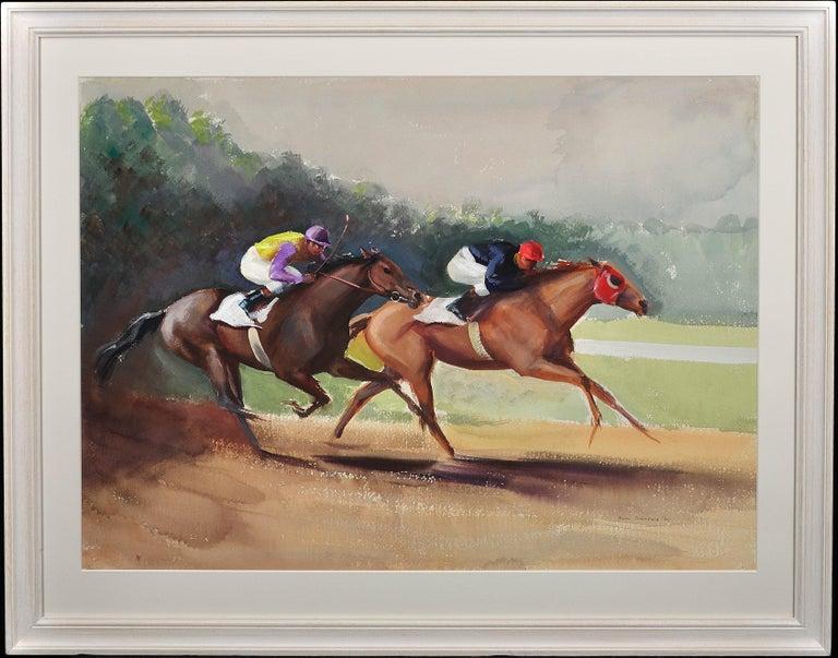 John Rattenbury Skeaping Animal Art - A Tight Finish. 1970.Race Horses. Final Furlong. Equine.Jockeys.Horse Racing.