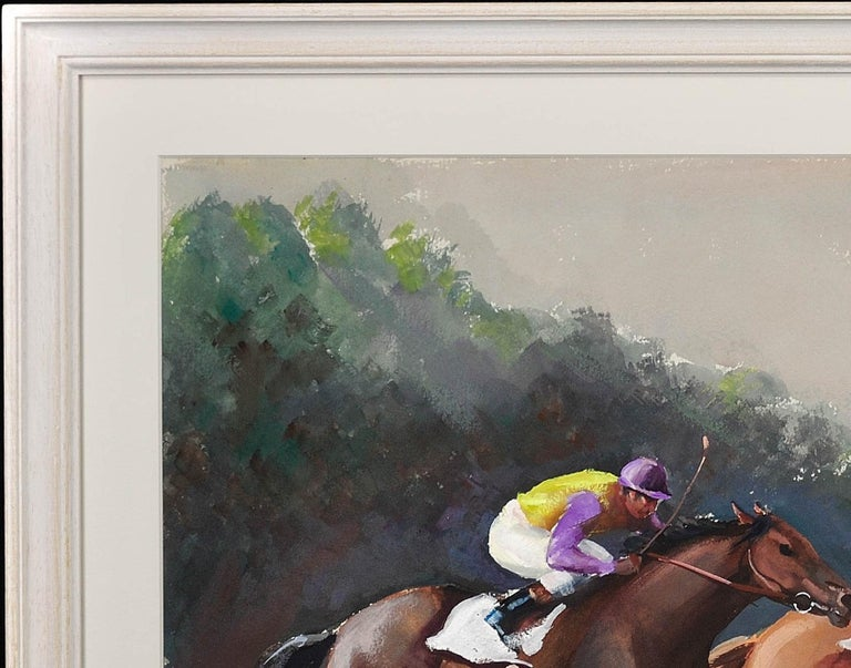 A Tight Finish. 1970.Race Horses. Final Furlong. Equine.Jockeys.Horse Racing. For Sale 3