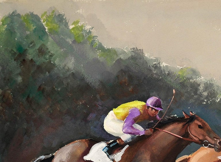 A Tight Finish. 1970.Race Horses. Final Furlong. Equine.Jockeys.Horse Racing. For Sale 4