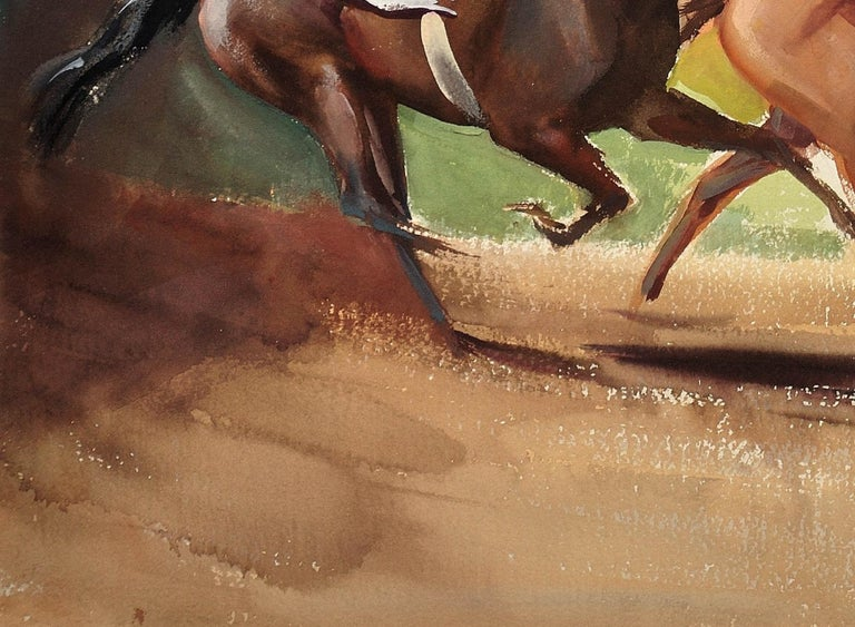 A Tight Finish. 1970.Race Horses. Final Furlong. Equine.Jockeys.Horse Racing. For Sale 6